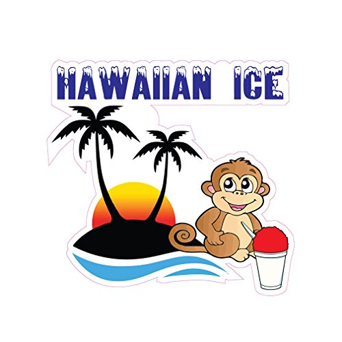 Hawaiin Ice Concession Restaurant Die-Cut Window Static Cling 10 inches Outside - Hawaiin Store