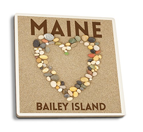 Lantern Press Bailey Island, Maine - Stone Heart on Sand (Set of 4 Ceramic Coasters - Cork-Backed, Absorbent)