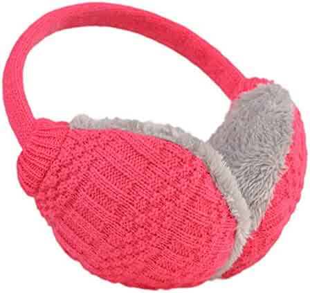 Zando Women Girls Stylish Snowflakes Knitted Ear Muffs Winter Warm Furry Earwarmers