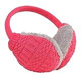 Knolee Unisex Knitting EarMuffs Faux Furry Earwarmer Winter Outdoor EarMuffs,Red