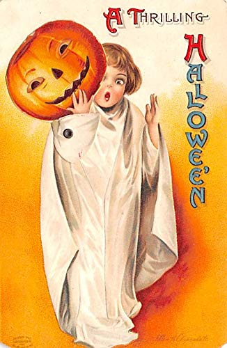 Halloween Post Card Old Vintage Antique Mechanical, Ellen Clapsaddle writing on back -