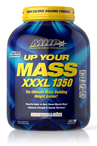 MHP UYM XXXL 1350 Mass Building Weight Gainer, Muscle Mass Gains, w/50g Protein, High Calories, 11g BCAAs, Leucine, French Vanilla Creme, 8 Servings by Maximum Human Performance (Image #1)