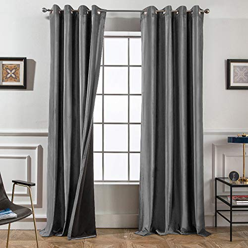 Melodieux 100% Blackout Velvet Curtains for Bedroom Living Room - Thermal Insulated Drapes with Black Liner, 52 by 63 Inch, Grey (2 Panels)