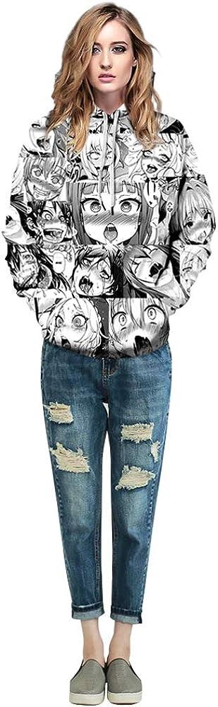 JJCat Mens Long Sleeve 3D Digital Print Cartoon Chracters Design Plus Size 5XL Loose Fit Couples Pullover Hoodies