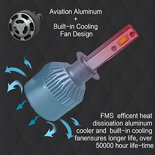 FMS 2 * H1 LED Faro Bombillas LED Coche Kit, Moto Alquiler de Luces del 6000K Korean Seoul LED Chips IP67 40W 4800LM luz Bombilla Blanca (H1): Amazon.es: Coche y moto