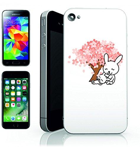 Smartphone Case Coniglio della Lepre-grazioso animale albero di ciliegio in fiore di ciliegio per Apple Iphone 4/4S, 5/5S, 5C, 6/6S, 7& Samsung Galaxy S4, S5, S6, S6Edge, S7, S7Edge Huawei HTC–