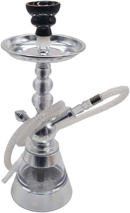 Shisha moderna de aluminio y metacrilato de color plata, lavable y desmontable todo. Mide 39 cm aproximadamente