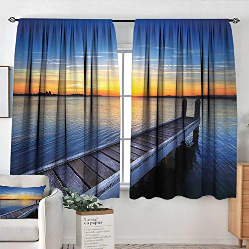 Elliot Dorothy Pattern Curtains Lake,Tranquil Summer View of Setting Sun on The Horizon of Lake Macquarie in Belmont,Blue Orange Umber,Rod Pocket Curtain Panels for Bedroom & Kitchen 52