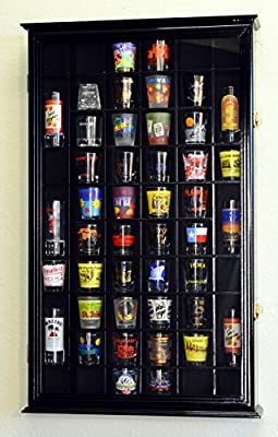 54 Shot Glass Shotglass Shooter Display Case Holder Cabinet Wall Rack 98% UV with Locks