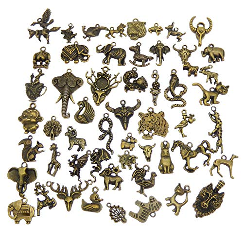 Mixed Animal Charms Craft Supplies for Jewelry DIY Necklace Bracelet Making Antiqued Bronze Colors 40pcs ()