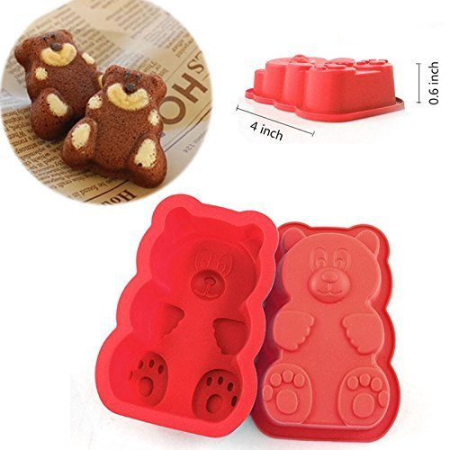 4 Pack - Cavity PURE Food Grade Silicone Gummy Bear Mold. No Plastic Fillers, BPA, or Chemical Coating; Fruity Snack Candy, Chocolate, Soap Making, Gelatin, Ice Treats by DidaDi