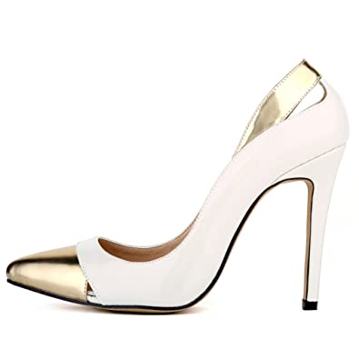0a013014d53a ZriEy Women Sexy Pumps Closed Pointed Toe Stiletto Shoes Patent Leather  Party Wedding Shoes Mix Beige