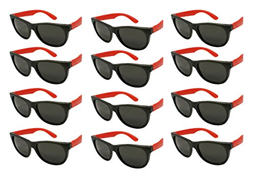Edge I-Wear 12 Pack 80's Style Adult Neon Party Sunglasses Bridal Wedding Party Favors 5402R/R-12