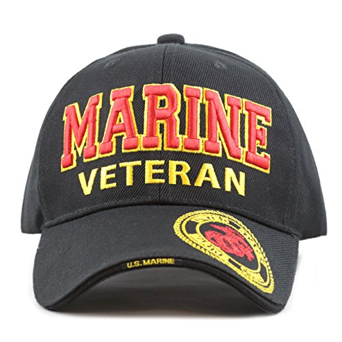 THE HAT DEPOT 1100 Official Licensed Military 3D Embroidered Marine Veteran Cap (Marine-Black)