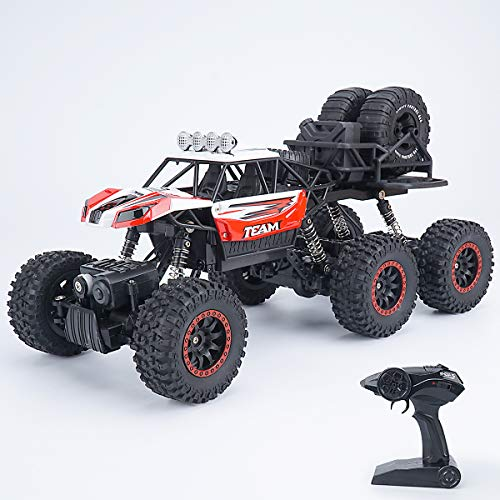 6WD Remote Control Truck RC Car – 1:14 Off Road Vehicle Hobby RC Crawlers with Rechargeable Battery, RED RC Outdoor CAR for Adults