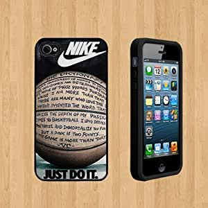 AWU DIYNIKE JUST DO IT QUOTE BASKETBALL Custom Case/Cover FOR Apple iPhone 4 /4S BLACK Rubber Case ( Ship From CA )