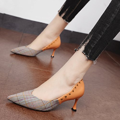 Xue Qiqi Präsident stitching grid Schuh tipp Licht von Frauen Zauber Schuhe fein mit Zauber Frauen Farbe Schuhe mit hohen Absätzen mit kleinen Schuhe Kürbis Farbe e0cec6