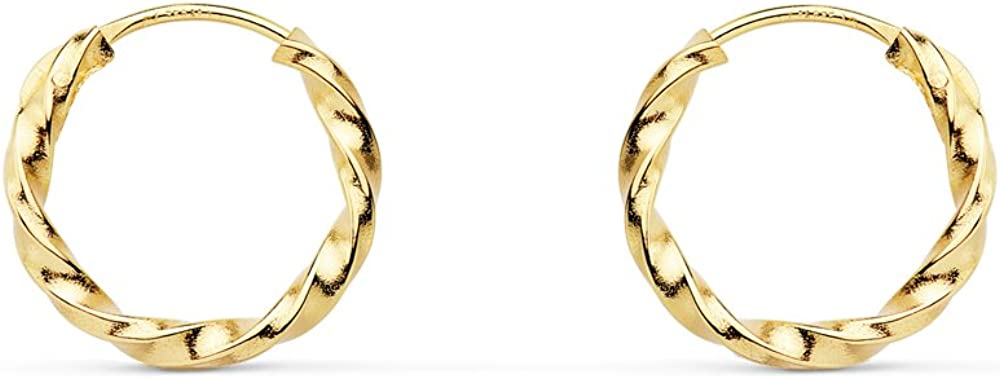 Aros Trenzados Retorcidos Oro Amarillo 18 Kilates 11 MM