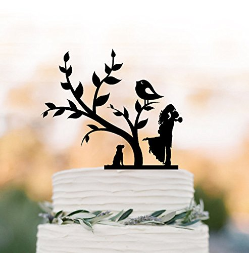 Price comparison product image Bride and groom silhouette Wedding Cake topper with dog,  cake topper wedding,  wedding cake topper with tree and bird,  family cake topper