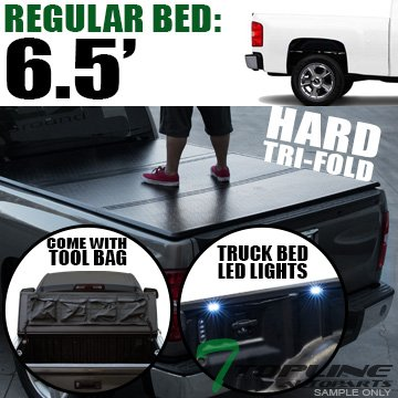 id Hard Tri Fold Tonneau Cover With Tool Bag & Truck Bed LED Lighting System For 07-13 Chevy Silverado ; GMC Sierra 1500 ; 07-14 2500 HD / 3500 HD / Denali 6.5 Feet ( 78