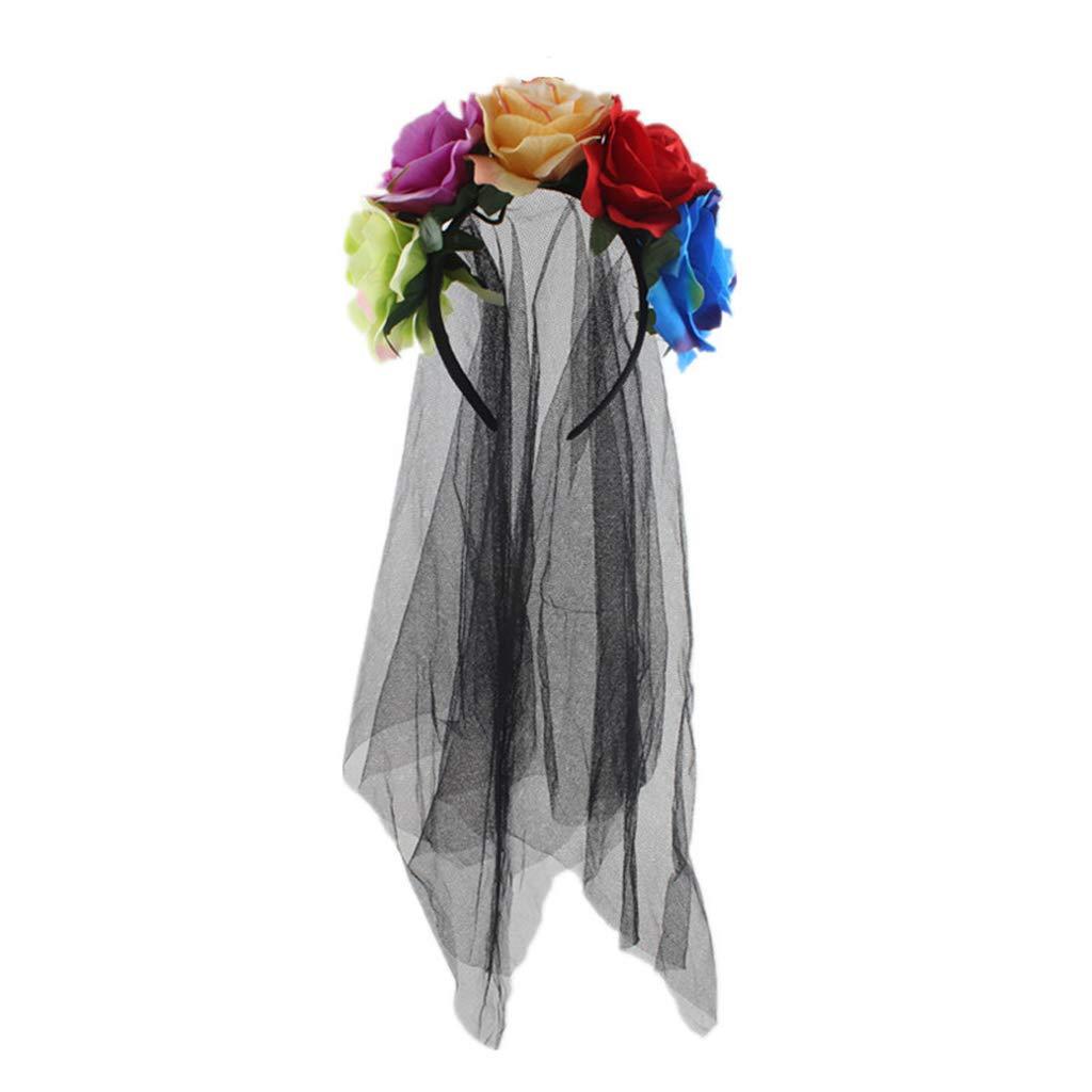 planuuik Ghirlanda di Halloween da Donna Fascia Fatta a Mano Tessuto Rosa Fiore con Velo di Maglia Nera Tulle Corona Festival Giorno dei Morti Cerchio