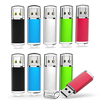 TOPESEL 5 Pack USB 2.0 Flash Drive Memory Stick Thumb Drives (5 Mixed Colors: Black Blue Green Red Silver)