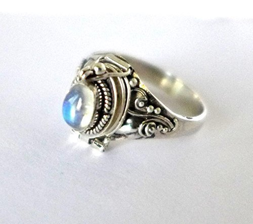 Poison Ring Bali Sterling Silver Locket Ring rainbow Moonstone AR04