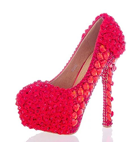 Party Dress Heel Chic Wedding Stiletto Women's Pumps Rhinestones TDA Red 14cm XwBFqIxZn