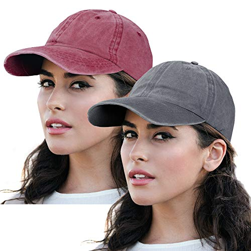 - Vintage Baseball Cap Washed Plain Hat Adjustable Low Profile Dad-Hat Fits Women 2Pack-Wine&Grey