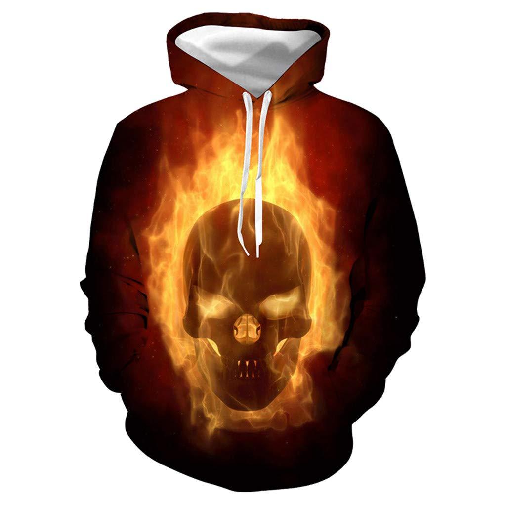 DRAGONHOO Hooded Sweatshirt Men Mens Casual Scary Halloween Lover 3D Print Party Long Sleeve Hoodie Top Blouse Hoodies Red by DRAGONHOO