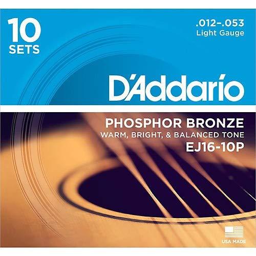 Light Gauge Coated Acoustic Guitar - D'Addario EJ16 Phosphor Bronze Light Acoustic Strings 10-Pack