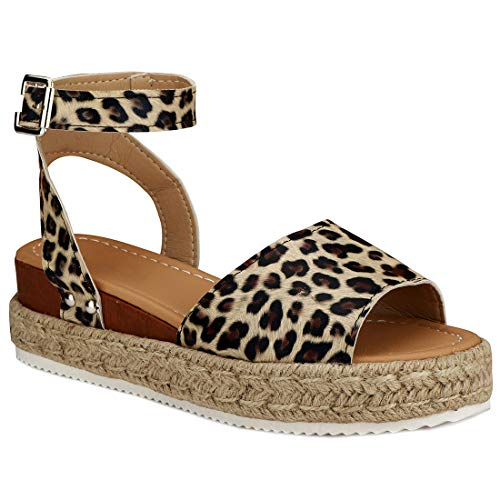 Womens Casual Espadrilles Platform Peep Toe Studded Wedge Buckle Ankle Strap Open Toe Sandals (Leopard,9 M US)
