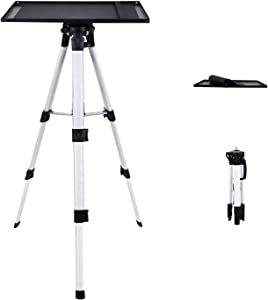 TOPVISION Aluminum Tripod Projector Stand, Multi-Function Stand with Plate and Carrying Bag, Adjustable Portable Laptop Stand, Computer Stand Adjustable Height 17'' to 46'' for Projector or Laptop