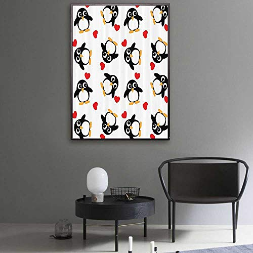 Sea Animals Decor Photo Canvas Penguins with Heart Shapes Lovely Sweet Romantic Valentines Day Custom Canvas 32