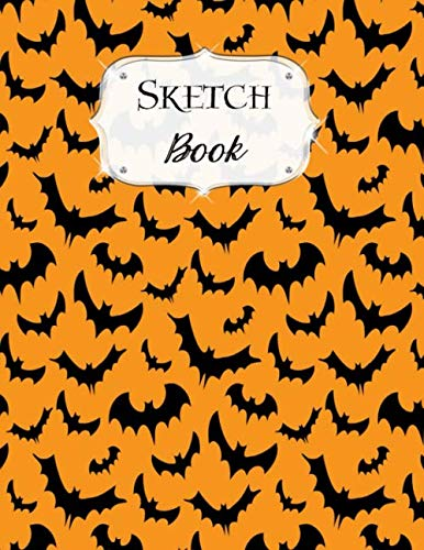 Sketch Book: Halloween | Sketchbook | Scetchpad for Drawing or Doodling | Notebook Pad for Creative Artists | #7 | Orange Black Bats]()