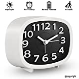 KOEPUO Silent Travel Alarm Clock, Simple Battery Operated Bedside Clock Non Ticking with Night Light Morning Clock for Home Bedroom Office Kids Men Women