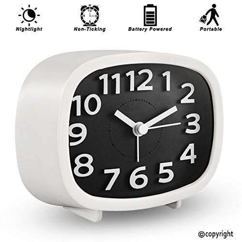 KOEPUO Silent Travel Alarm Clock, Simple Battery Operated Bedside Clock Non Ticking with Night Light Morning Clock for Home Bedroom Office Kids Men Women by KOEPUO