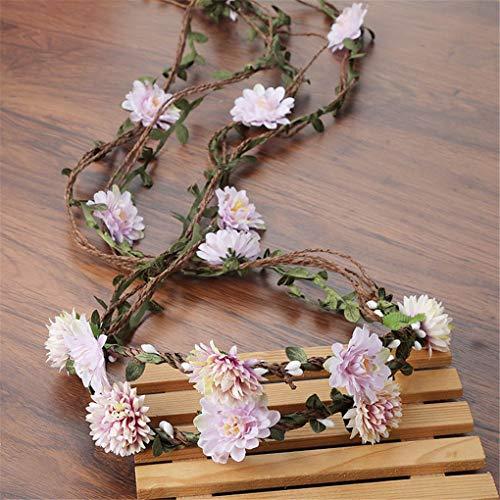(Bohemian Wreath Flower Crown Women Rattan Simulation Headband Wrist Headwear Hair Accessories 3)