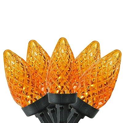 "Set of 50 Orange LED Faceted C7 Halloween Lights 5"" Spacing - Black Wire"