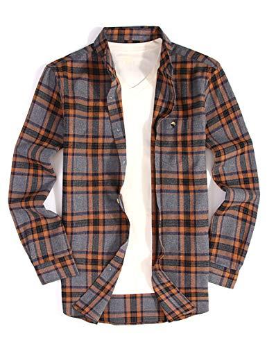 Mens Casual Button Down Dress Shirt Long Sleeve Flannel Shirts Regular Fit (Brown, S)