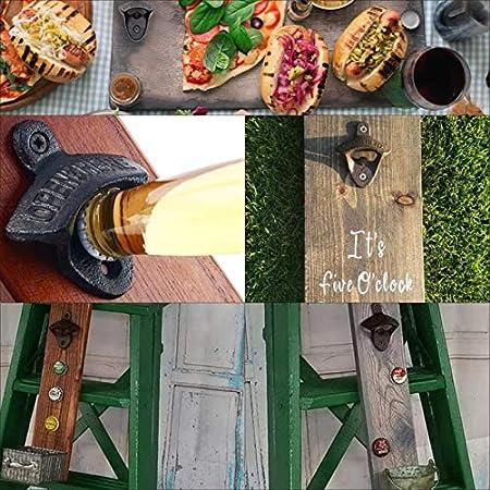 Abrebotellas con Montaje en Pared, Baogaier Abridor de Botellas de Cerveza Hecho de Hierro Fundido, Rústico Diseño Vintage con 8 Tornillos para Barras Cafe Kitchen (Juego de 4)