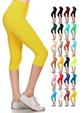 Leggings Depot Women's Yoga Gym High Waist reg/Plus Solid and Printed Workout Capri Leggings Pants 16+Colors