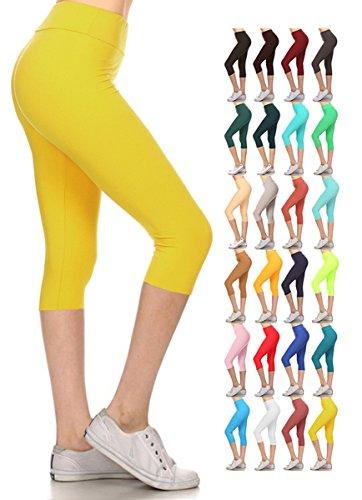 Leggings Depot Women's Yoga Gym High Waist reg/Plus Solid and Printed Workout Capri Leggings Pants 16+Colors by Leggings Depot