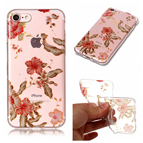 Hybrid Fancy Colorful Pattern Flash Powder TPU Case Cover for Apple iPhone 7 2016 Release (Rhododendron) ()