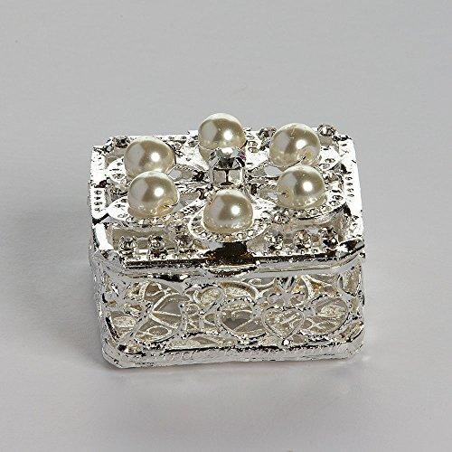 Shaped Coin Silver (Silver Plated Square Shaped Arras Chest with Pearls - COFJC007 - Arras de Boda - Unity Coin Holder - Wedding Coin Box - Arras de Matrimonio - Cofre de Boda - Jewelry Box & Ivory Organza Bag Included)