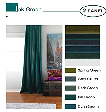 Artdix Velvet Blackout Curtains Panels Window Drapes – Ink Green 50W x 96L Inches 2 Panels Nursery Insulated Solid Thermal Custom Blackout Curtains for Bedroom, Living Room, Kids Room, Kitchen