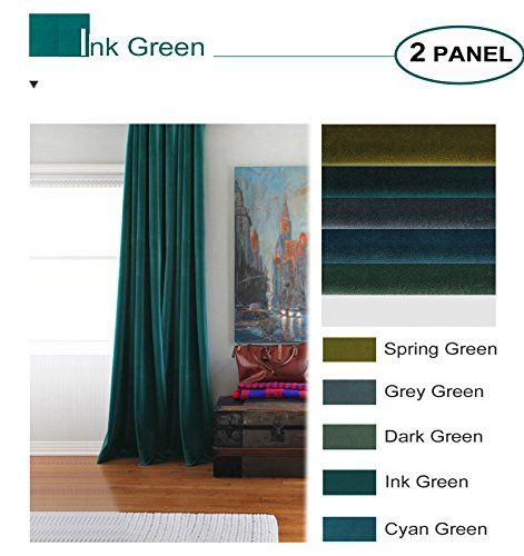 Artdix Velvet Blackout Curtains Panels Window Drapes - Ink Green 50W x 84L Inches (2 Panels) Nursery Insulated Solid Thermal Custom Blackout Curtains For Bedroom, Living Room, Kids Room, Kitchen -