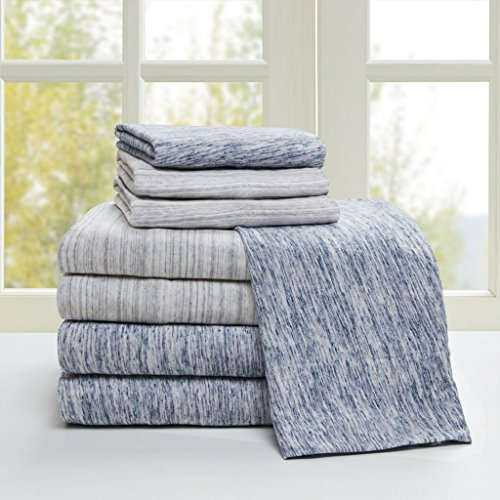 Space Dyed Cotton Jersey Knit Sheet Set Grey Queen (Jersey Knit Bed Sheets)