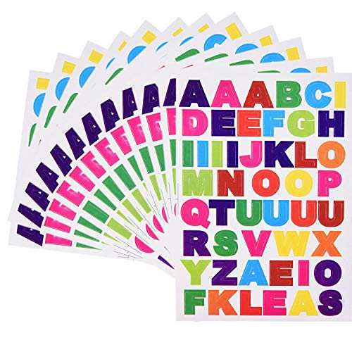 Kenkio 40 Sheets Letter Stickers Colorful Alphabet Stickers Cardstock Stickers, A to ()