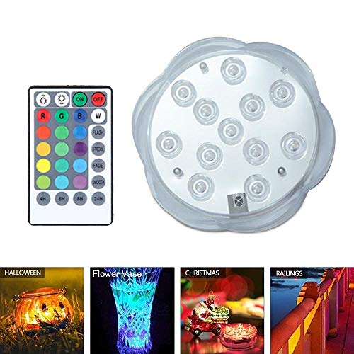 AOLVO Submersible LED Light, Underwater Pool Light with Remote, Battery...
